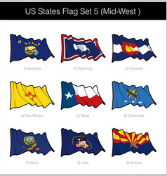 Us states flag set - mid west vector