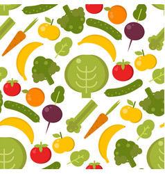 vegetables healthy food seamless pattern vector image