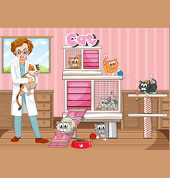 Vet and many cats in clinic vector