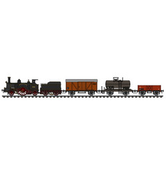vintage steam freight train vector image