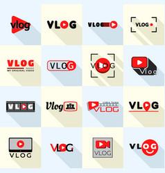 vlog logo set flat style vector image