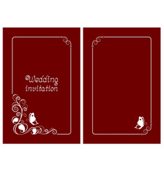 wedding invitation and red save date cards vector image