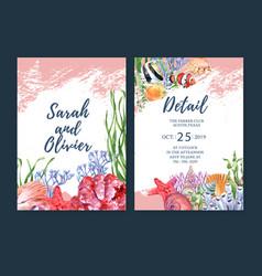 Wedding invitation watercolor design with sealife vector