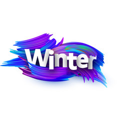winter background with blue brush strokes vector image
