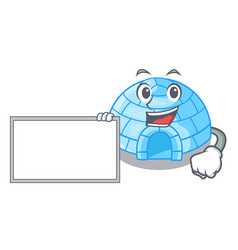 With board character cartoon ice house in vector