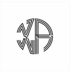 Xa logo monogram triple ribbon style line design vector