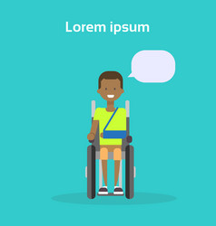 young man on wheel chair happy african american vector image