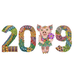 zentangle stylized piggy with number 2019 for vector image