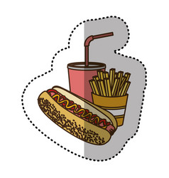 color hot dog soda and fries french icon vector image