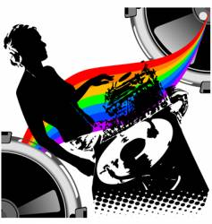 girl dj and rainbow music vector image vector image