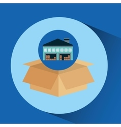 warehouse building cardboard box vector image vector image