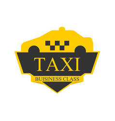 business class taxi logotype with car on top label vector image