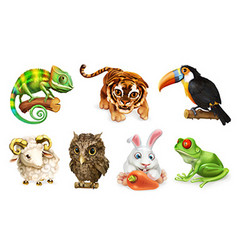 Funny animal set Cartoon character 3d icon vector image