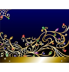 horizontal gold jewerly background with gems vector image vector image