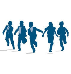 Primary school boys running outside vector image vector image