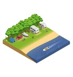 recreational vehicles on beach isometric vector image