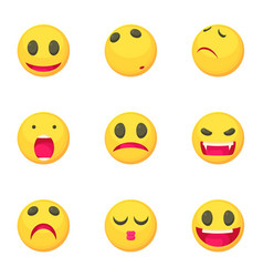 smiley face icons set cartoon style vector image vector image
