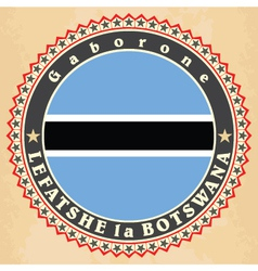 Vintage label cards of Botswana flag vector image
