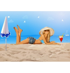 Young slim woman on beach vector image vector image