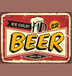 Beer vintage tin sign vector