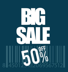 big sale icon with bar code in white vector image vector image