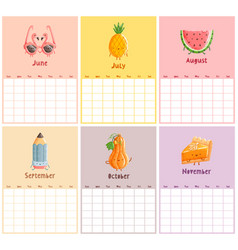 endless calendar template second half vector image vector image