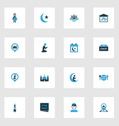 Holiday colorful icons set collection of abend vector
