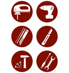 set icons with construction tools vector image vector image