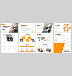 set of business slides for presentation with vector image