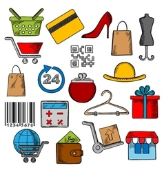 Shoppingretail and commerce icons vector image
