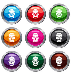 skull set 9 collection vector image vector image