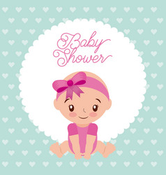 baby shower girl with diadem bow pink design vector image