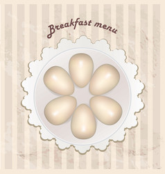 breakfast menu with cooked eggs over seamless vector image vector image