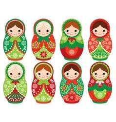 Christmas Matryoshka Set vector image