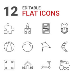 12 toy icons vector