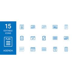 15 agenda icons vector