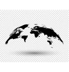 3d earth globe with shadow on isolated background vector image