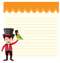 a magician on note template vector image