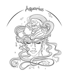 Aquarius as a girl in hat vector