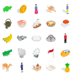 Asian buildings icons set isometric style vector