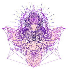 Asian magic woman with sacred geometry and fire vector