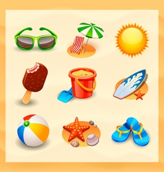 beach icon set vector image
