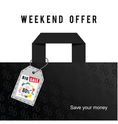 Big sale weekend offer on bag in colorful vector