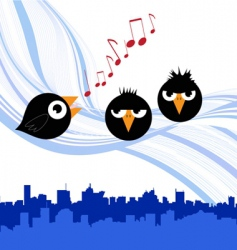 Birds singing vector
