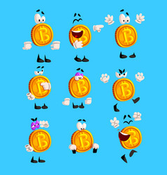 Bitcoin character sett crypto currency emoji with vector