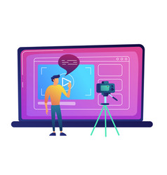 blogger recording video blog with camera for vector image