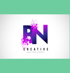 bn b n purple letter logo design with liquid vector image