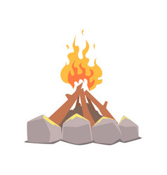 bonfire camping fire surrounded by stones cartoon vector image