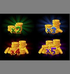 Bonus x2 x3 x4 x5 coins vector