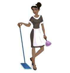 Cartoon African American chambermaid vector image